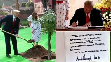 Donald Trump, Melania Trump Visit Rajghat, Write Message on 'Vision of The Great Mahatma Gandhi' in Visitors' Book, Plant Tree; View Pics